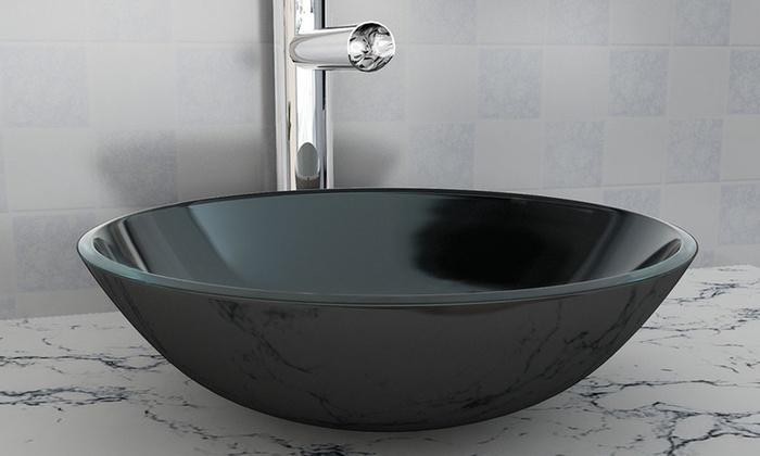 jusqu 39 48 lavabo rond en verre tremp groupon. Black Bedroom Furniture Sets. Home Design Ideas