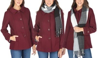 Groupon.com deals on Haute Edition Womens Wool-Blend Car Coat w/Free Gift Scarf