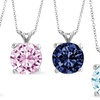 1.00 CTTW Round-Cut Birthstone Pendant in Solid 14K White Gold