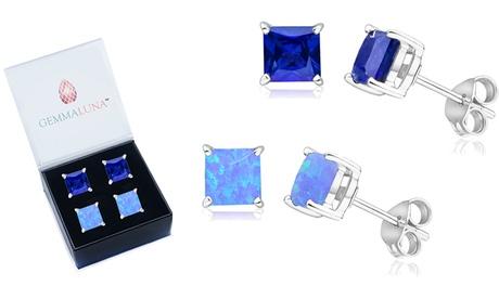 Gemma Luna Princess Cut Sapphire and Opal Stud Earrings Set (2 Pairs)
