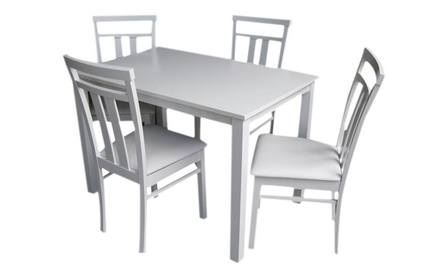 One (AED 399) or Two (AED 729) White Four Seater Dining Sets With Free Delivery