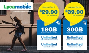 Lycamobile: $29.90 (3x6GB) or $39.90 (3x10GB) for 3 Renewals of Unlimited Lycamobile Plan Powered by Telstra 4G (Don't pay $119.70)