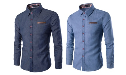 Mens Long Sleeve Lucas Denim Shirt in Choice of Colour and Size