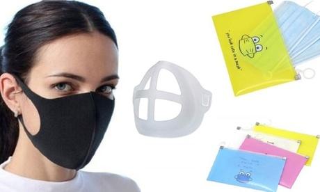 1, 2, 4 u 8 sets de soporte de silicona 3D para mascarillas y funda protectora
