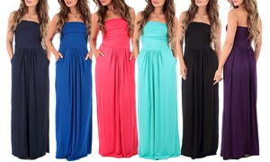Women's Strapless Maxi Dress. Plus Sizes Available.