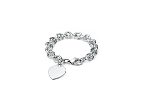 Petalouda: Sterling-Silver Heart Charm Bracelet or Flower Crystal Earrings in Two Colors at Petalouda (Up to 79% Off)