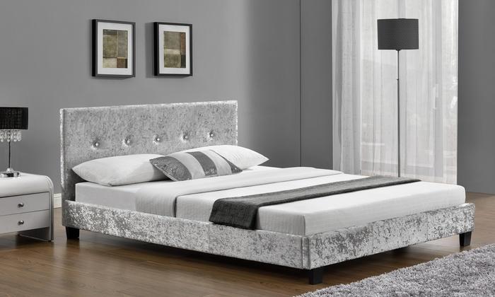 Prado Silver Velvet Double Bed