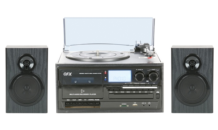 QFX Multi-Functional Bluetooth Turntable System with CD Player, Cassette  Deck, AM/FM Radio, and 2 Satellite Speakers