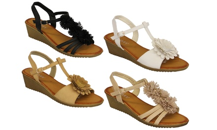 Women's Flower Sandals with Wedge Heel in Choice of Design