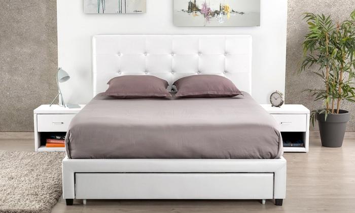 lit avec sommier int gr groupon. Black Bedroom Furniture Sets. Home Design Ideas