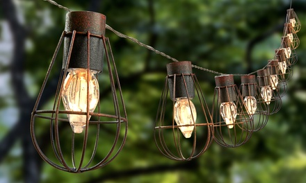 Solar 10 LED Bulb Cage String Lights