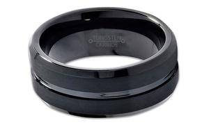 Spikes Men's Black Beveled Edge Tungsten Carbide Wedding Band Ring
