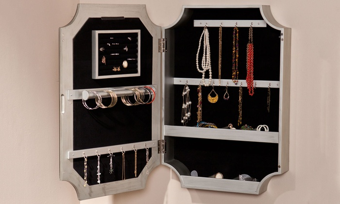 Decorative Wall Mirror Jewelry Organizer : Vintage mirror jewelry organizer groupon goods