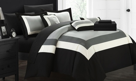 Colorblock or Reversible Geometric Pattern Bed in a Bag Comforter Sets (10-Piece)