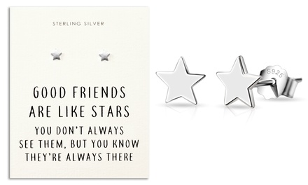 Philip Jones One or Two Pairs of Sterling Silver Star Quote Earrings
