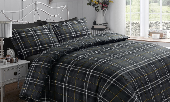 Brushed Cotton Tartan Check Duvet Cover Set in Choice of Colour from £14