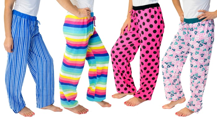 GearXS: Love 2 Sleep Women's Cotton Printed Lounge Pants (4-Pack) (Size L)