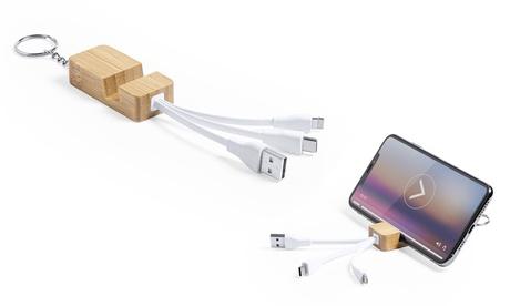 Cargador de línea nature con llavero y soporte para smartphone