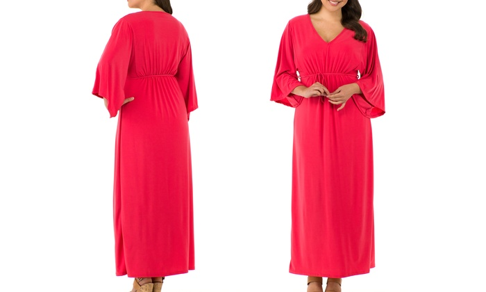 Sociology Plus-Size Kimono-Sleeve Maxi Dress (Size 2X) | Groupon