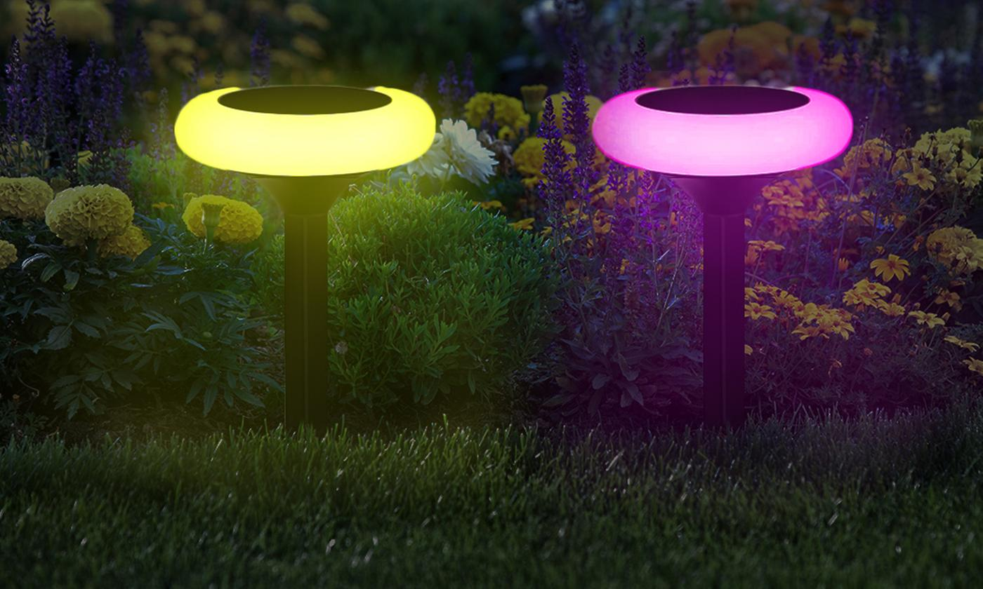 Two, Four or Six Colour-Changing Solar Pathway Lights