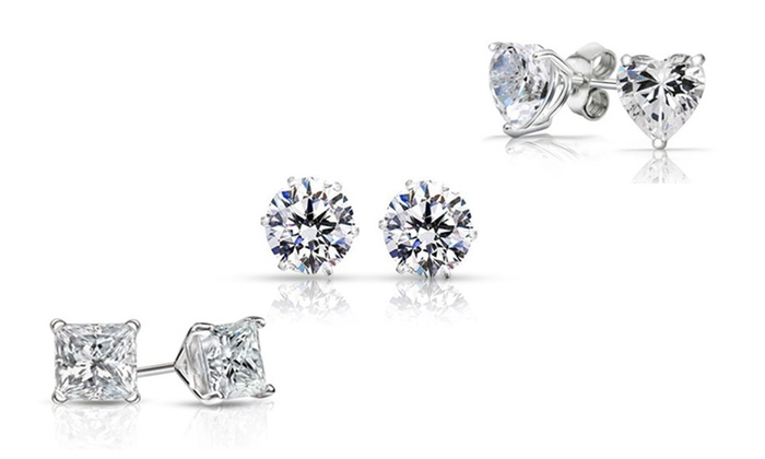 Sterling Silver Stud Earrings With Swarovski Elements 3 Pack