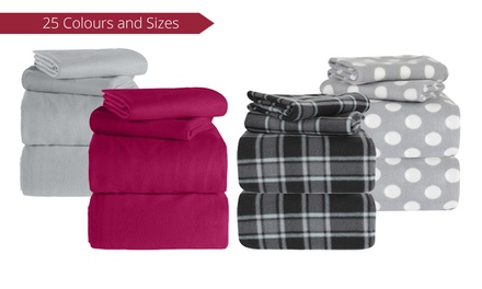 Polar Fleece Plain or Patterned Sheet Set: Single $20, King Single $25, Queen $29 or King Size $35