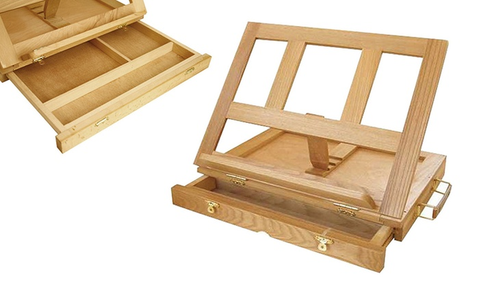 ... Natural Wood Tabletop Easel With Wooden Palette: Natural Wood Tabletop  Easel With Storage Drawer And ...