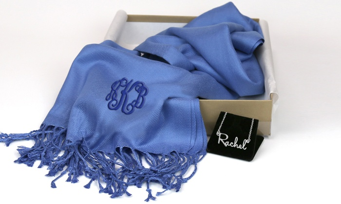Monogram Online: Personalized Sterling-Silver Mini Name Necklace, Monogram Pashmina Scarf, or Both from Monogram Online (Up to 71% Off)