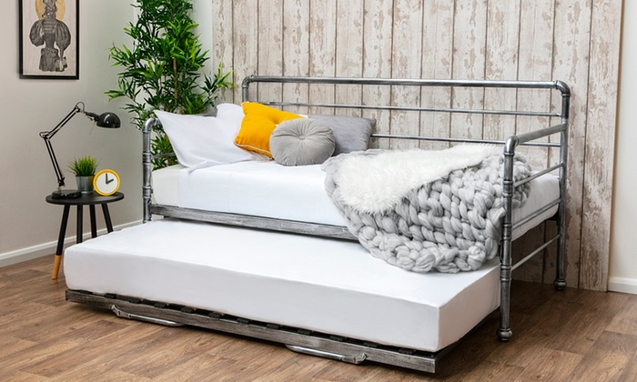 Industrial Metal Day Bed with Guest Trundle and Optional 5″ Deep Spring Mattresses (£225)