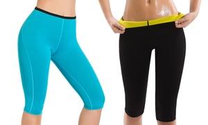 Women's Neoprene Sweat Slimming Leggings. Plus Sizes Available.