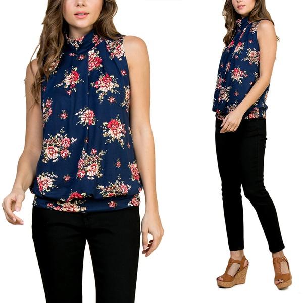 6da70054744b1 Riah Fashion Print Mock Neck Sleeveless Pleated Top