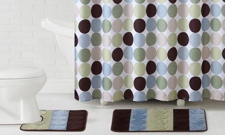 Bath Set Collection with Bath Rug, Contour Rug, Shower Curtain, and Shower Curtain Hooks (15-Piece)
