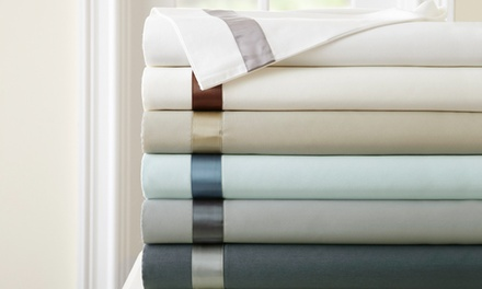 400-Thread-Count Fine Linens 100% Egyptian-Cotton Sheet Set with Satin Band Accent