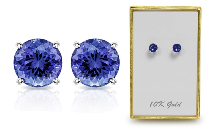 10k White Gold 2 00 Ctw Created Tanzanite Stud Earrings By Muiblu Gems