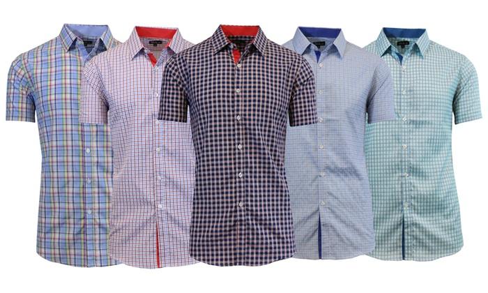 Men's Slim-Fit Plaid Button-Down Shirts