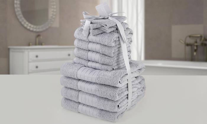 Groupon Goods Global GmbH: Set de 12 serviettes de bain en coton