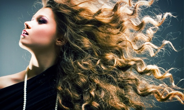 NY Line of Hair Design - Irondequoit: Haircut Package with Optional Color Touchup or Partial or Full Highlights at NY Line of Hair Design (Up to 55% Off)
