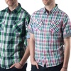 Red Snap Men's Short-Sleeve Plaid Button-Down Shirts