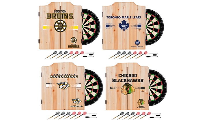 NHL Dart Cabinet Set With Darts And Board ...