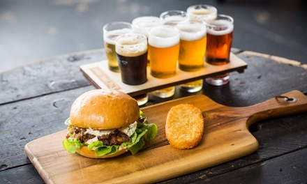Burger and Paddle of Beers or Glass of Wine for 1 ($13) or 4 People ($37) at Five Barrel Brewing (Up to $108 Value)