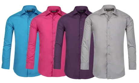 Jack Luxton Men's Slim-Fit Wrinkle-Resistant Dress Shirt. Multiple Options Available.