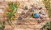 Metal and Glass Gecko or Peacock Wall Art