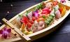 Menu sushi con calice di vino