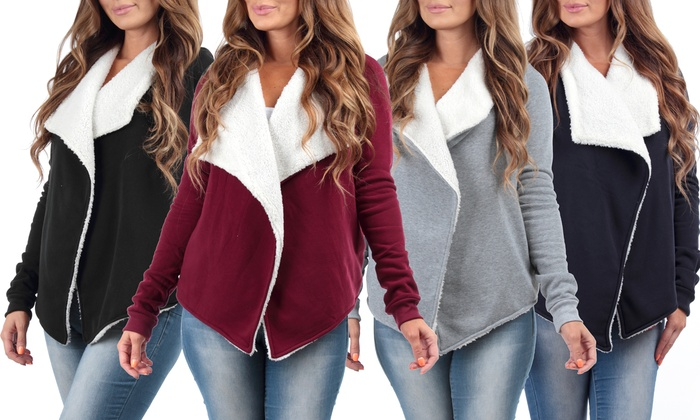 Women's Draped Kelsey Cardigan with Sherpa Lining
