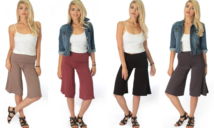Lyss Loo On The Lounge Fold Over Gaucho Capri Pants