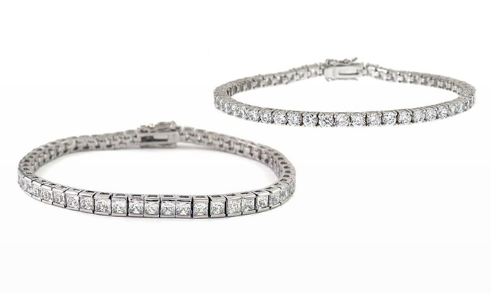 6 or 10 CTTW Cubic Zirconia and 18-Karat Gold-Plated Tennis Bracelet: 6 CTTW Round-Cut or 10 CTTW Princess-Cut Cubic Zirconia Tennis Bracelet Plated in 18-Karat White Gold. Free Returns.