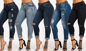 Ripped One-Button Mid-Rise Skinny Ankle Jeans (Junior Sizes)
