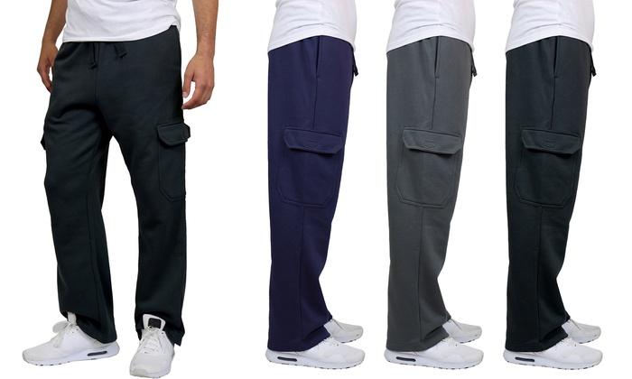 Men/'s Cargo Pocket Fleece Pants