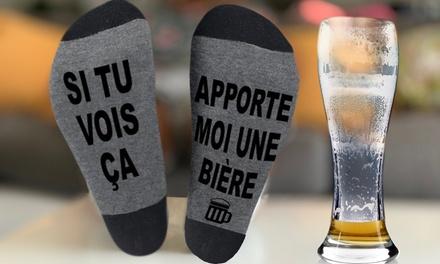 Chaussettes cadeau ''Si tu vois ça, apporte moi une bière'' pour homme
