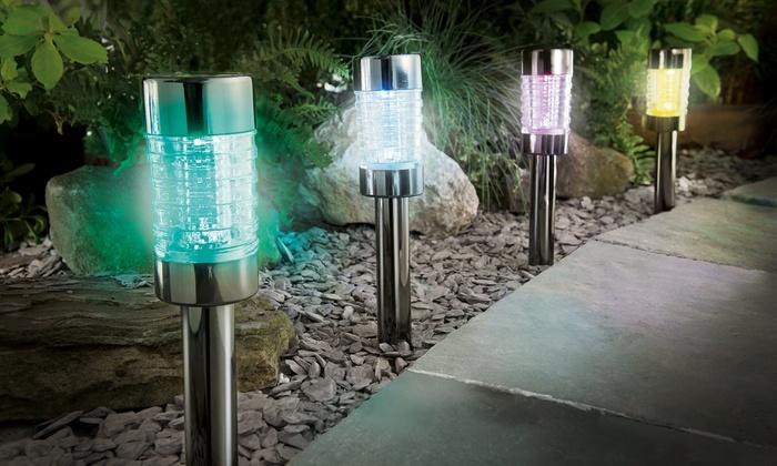 4 u 8 luces solares de jard n groupon goods - Luces de jardin solares ...